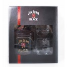 JIM BEAM BOURBON BLACK EXTRA AGED GIFT PACK With 2 ROCK GLASSES 750ML