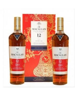 MACALLAN SCOTCH SINGLE MALT CHINESE NEW YEAR PACK DOUBLE CASK 86PF 12YR 2X750ML
